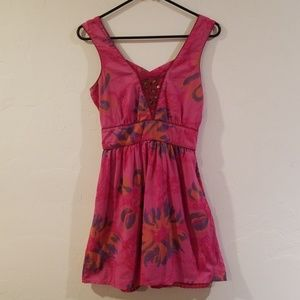 Free People cute pink dress embroidered